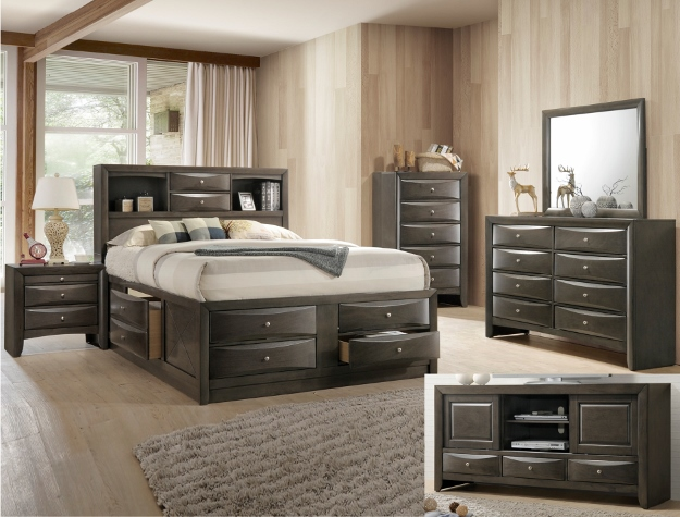 B4275 Cm Emily Grey Bookcase Storage Bedroom Collection Sale