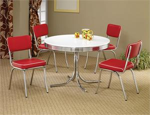 Exceptional 2388 CO Retro Dining Table Red Set Sale